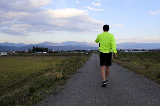 田舎道を歩く男性