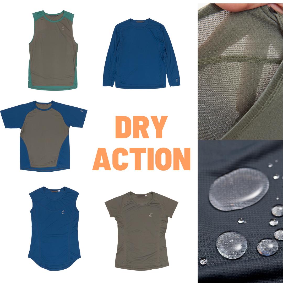 防水と呼べる程の撥水性と超速乾性、高い通気性でオーバーヒートを防ぐDRY ACTIONシリーズのタンクトップ